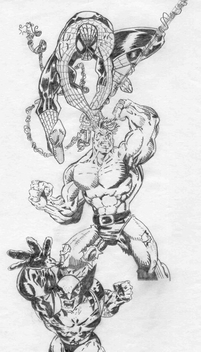 Spider Man Hulk and Wolverine by Ficaloworks