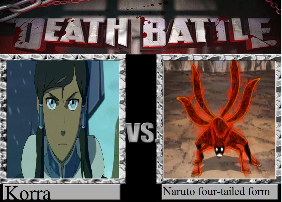death battle- Korra vs. Naruto four-tailed formed by ...  death battle- K...