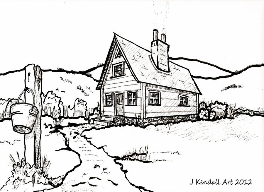 Old Country House Line Drawing by J-KENDALL