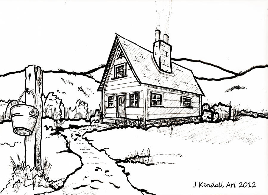 Line Art Drawing House : Old country house line drawing by j kendall on deviantart