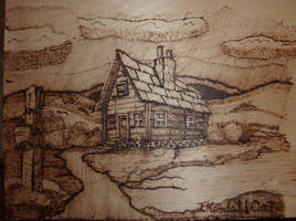 Old Country House Wood burned by J-KENDALL