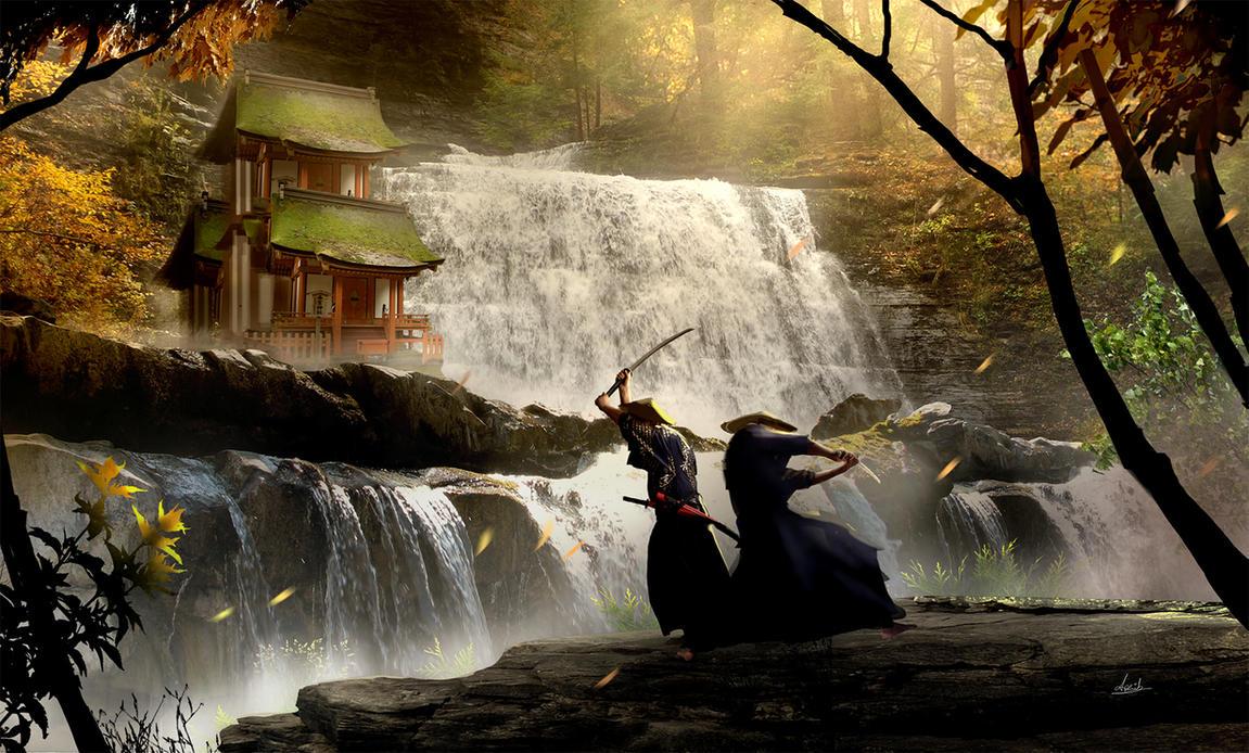 Samurai Showdown near a Water Fall by umbatman