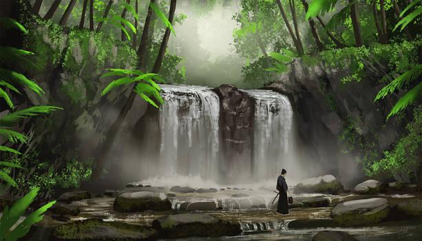 Water Fall And The Samurai