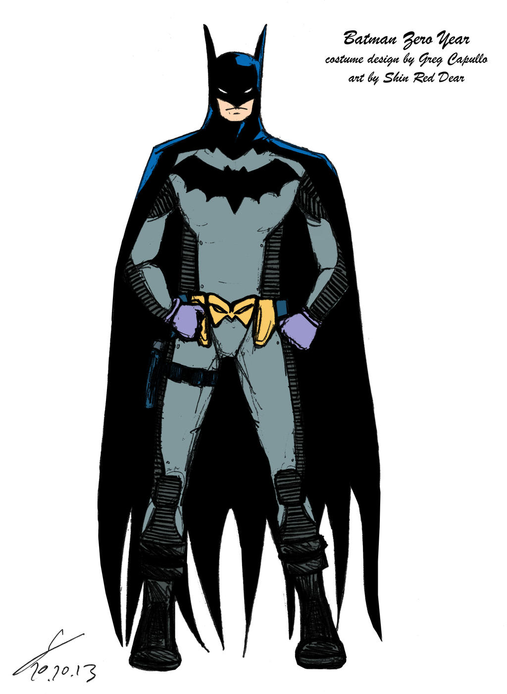 Batman Zero Year costume sketch colored by ShinRedDear on ...