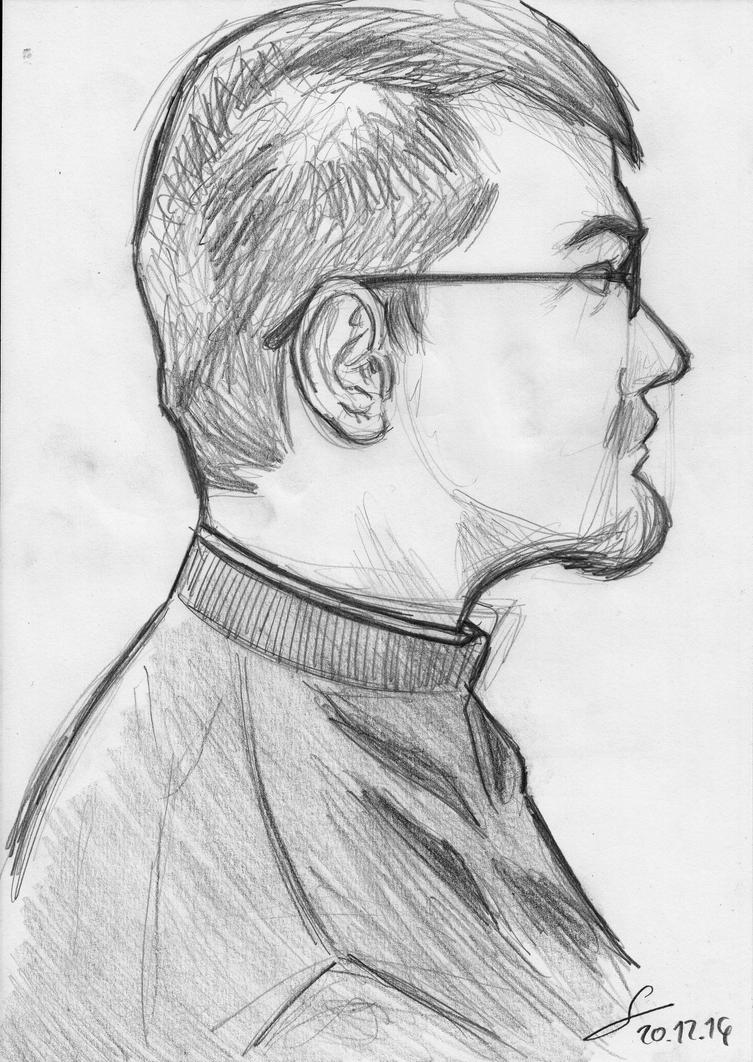Last of 2014: Profile Autoportrait Sketch by ShinRedDear