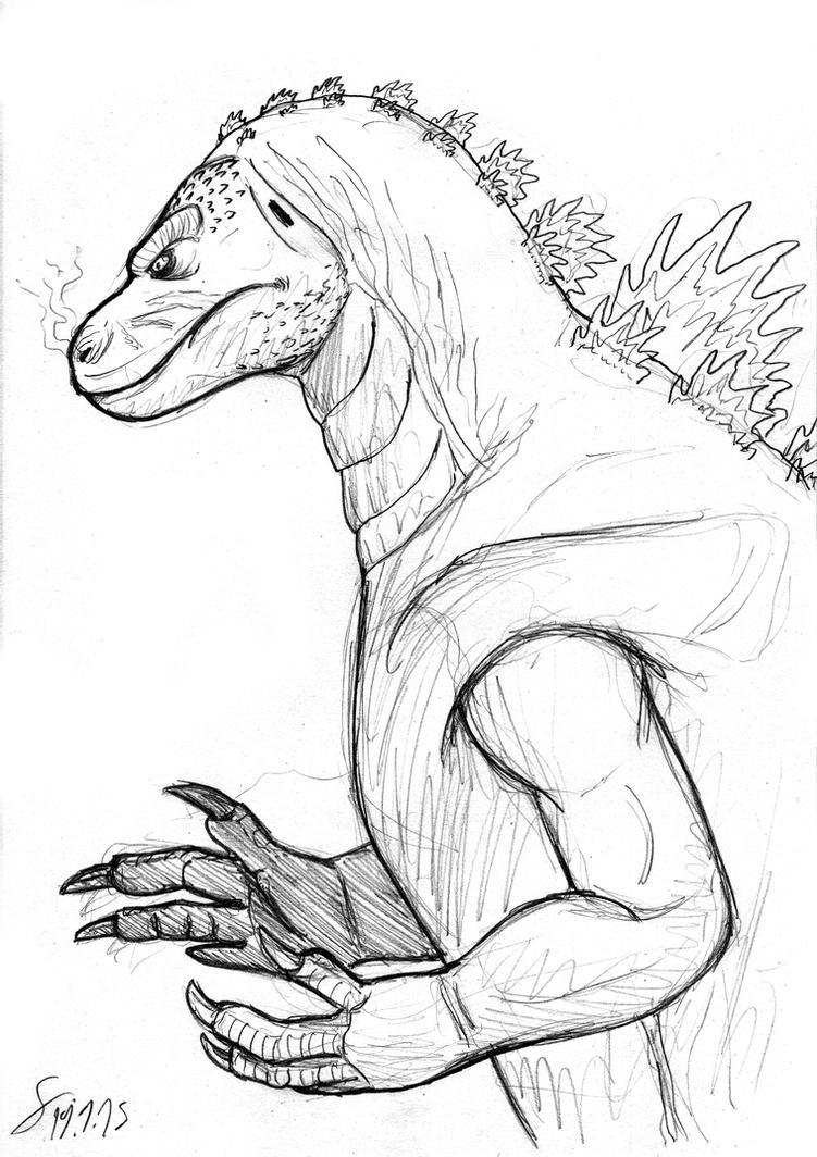 Godzilla profile sketch doodle by ShinRedDear