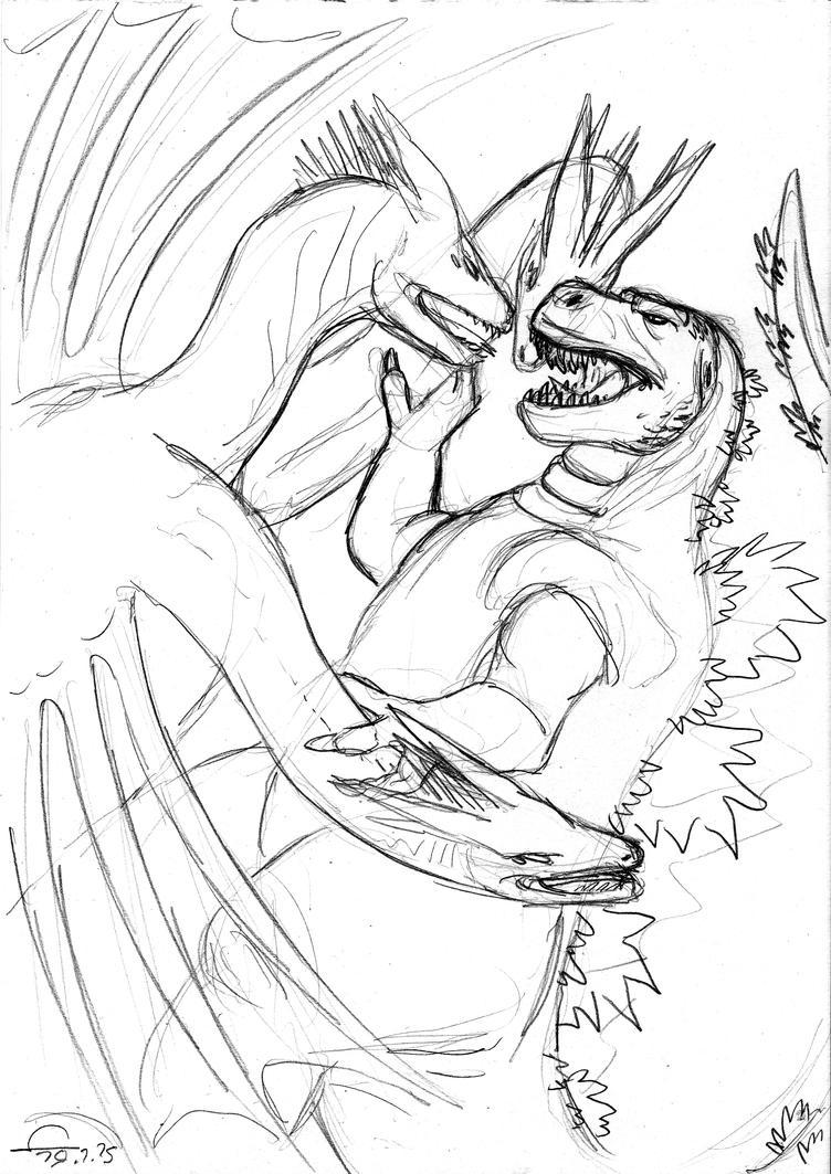 Godzilla vs Ghidora doodle sketch by ShinRedDear