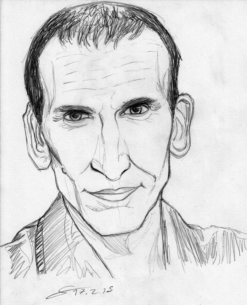 Eccleston Doctor sketch portrait by ShinRedDear