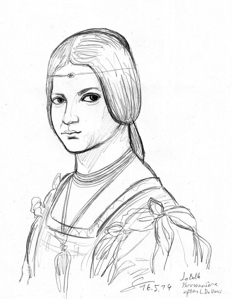 La Belle Ferroniere portrait sketch after Da Vinci by ShinRedDear