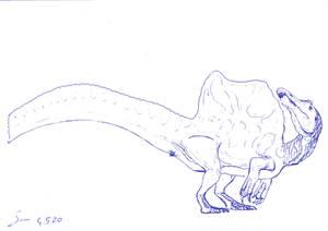 Spinosaurus 2020 ballpoint pen sketch