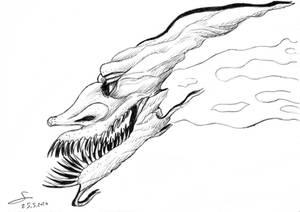 Flying smiling demon head sketch