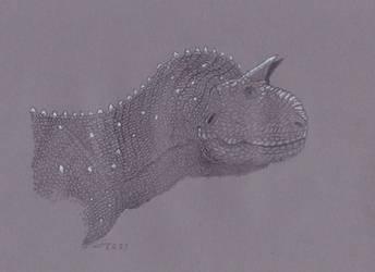 Carnotaurus sketch portrait on grey paper