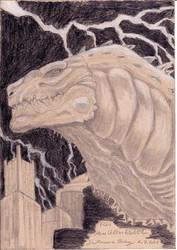 Godzilla 1998 tribute sketch portrait