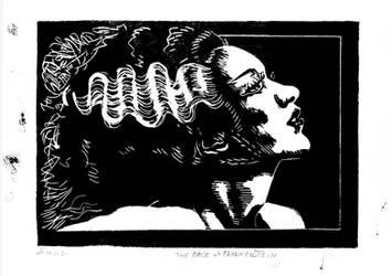Bride of Frankenstein linocut