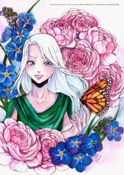Yuri on Ice: Peonies and Forget me not