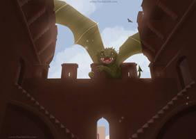 Dragon en las torres de Quart by PaulaEdith