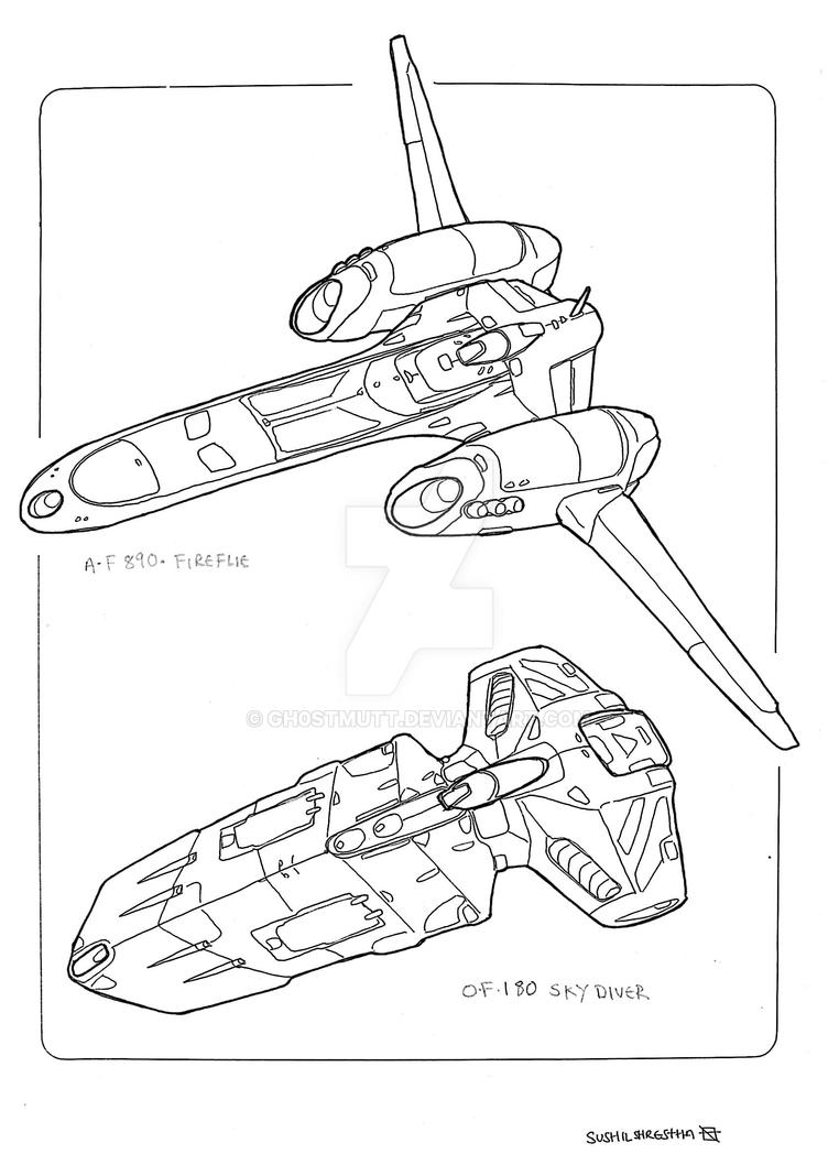 Spaceships fighter by GH0STMUTT