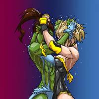 Tessa vs Orc hair struggle by cyberaix