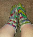 Entrelac socks by CherokeeCampFireGirl
