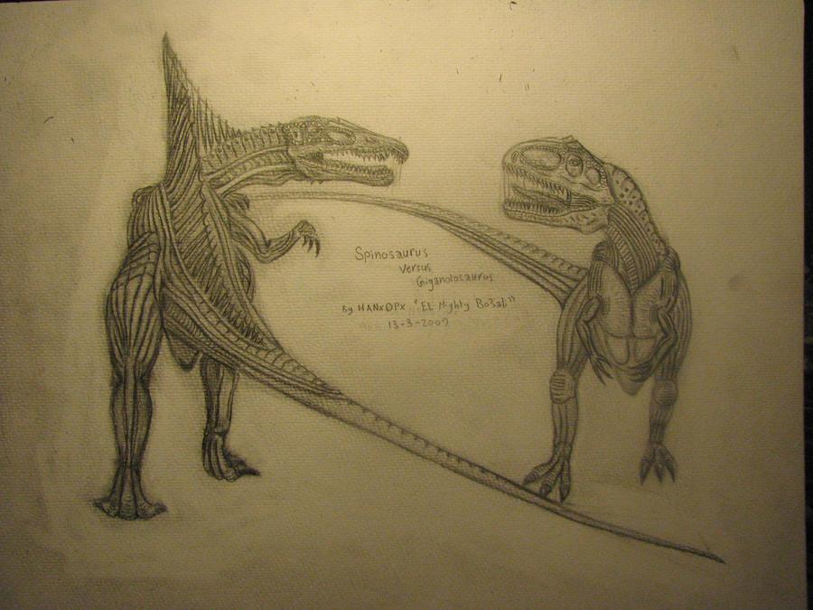 Spinosaurus Vs Giganotosaurus by HANxOPX on DeviantArtGiganotosaurus Vs Spinosaurus Who Would Win