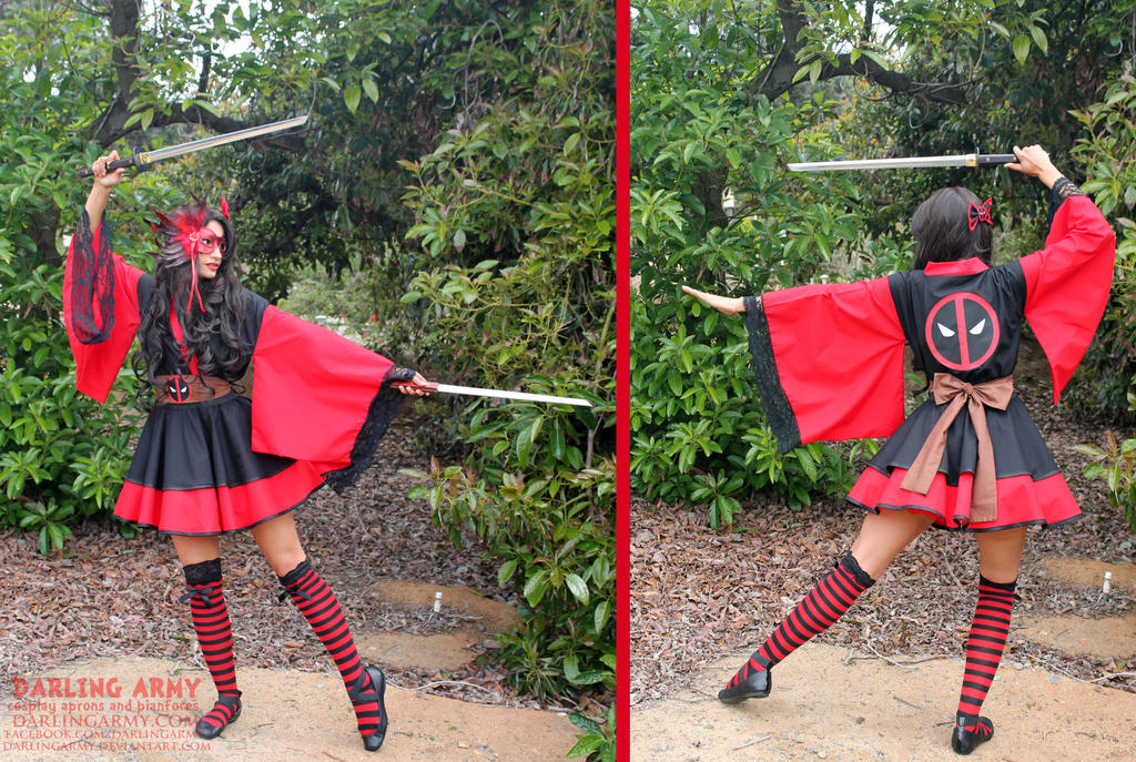 Deadpool Cosplay Lolita Kimono Dress by DarlingArmy