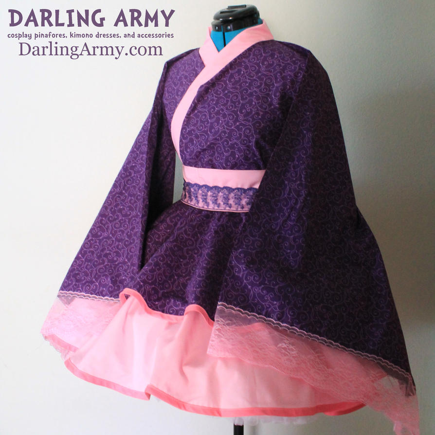 Purple and Pink Swirl Cosplay Kimono Dress Wa Loli by DarlingArmy