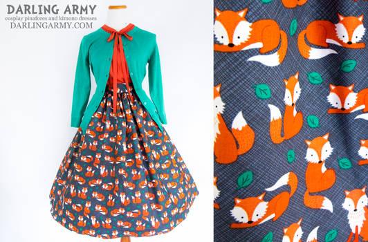 Foxy Lady Vintage Inspired Tea Length Skirt