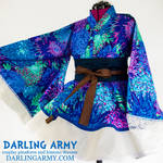 Blue and Purple Chrysanthemum Cosplay Kimono Dress