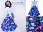 Darling Dinos Vintage Inspired Tea Length Skirt