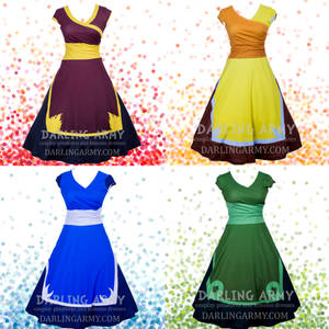 Four Avatar Nations Printed Cosplay Wrap Dresses