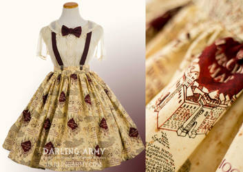 Marauder's Map Harry Potter Tea Length Skirt
