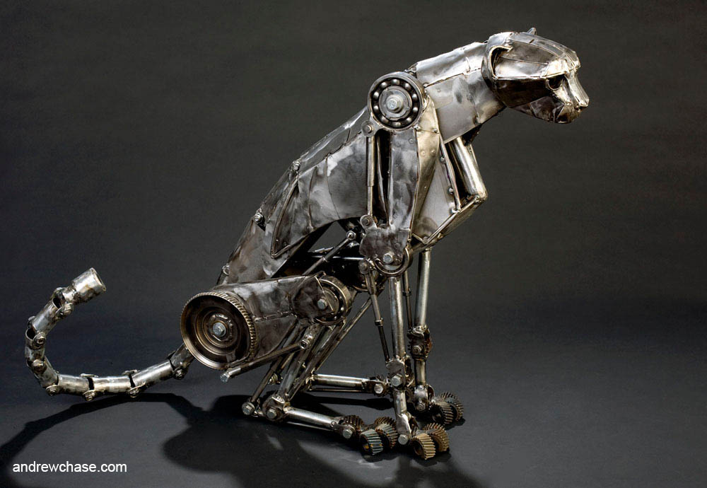 Mechanical metal cheetah sitting 1 by Andrew-Chase