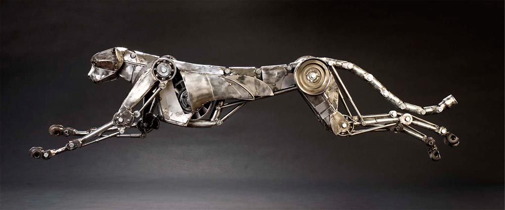 Mechanical metal cheetah run by Andrew-Chase