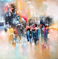 NINA abstract painting in progress by Amytea