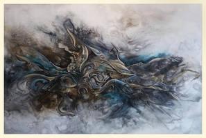 Poseidon abstract painting in progress