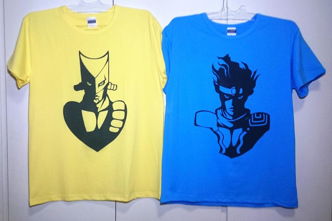 THE WORLD + STAR PLATINUM shirts by fluffyducky-plushie