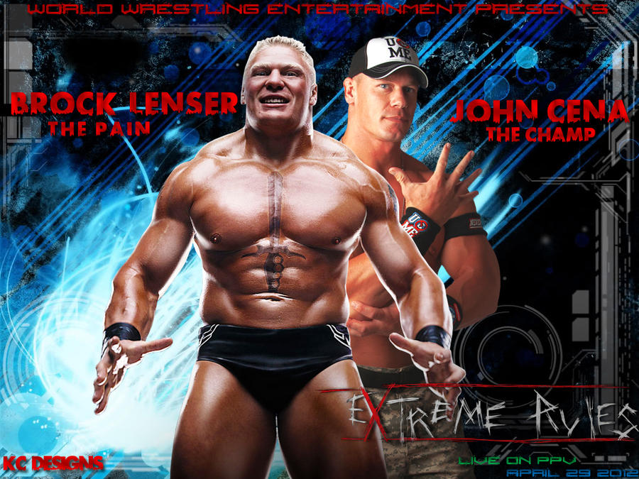 WWE Brock Lesner Vs John Cena Extreme Rules By KCWallpapers