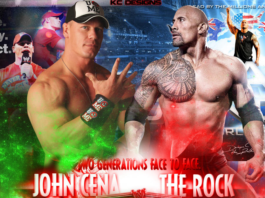 WWE WRESTLEMANIA 28 Rock vs Cena by KCWallpapers