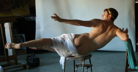 Flying God Draped but Nude