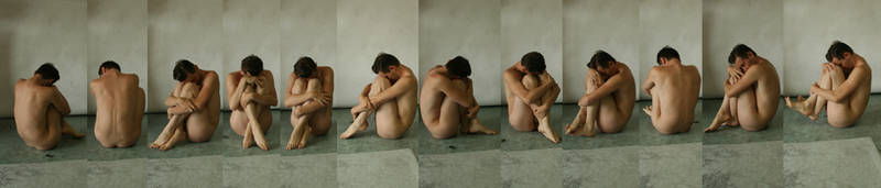 Nude Male Crouching by TheMaleNudeStock