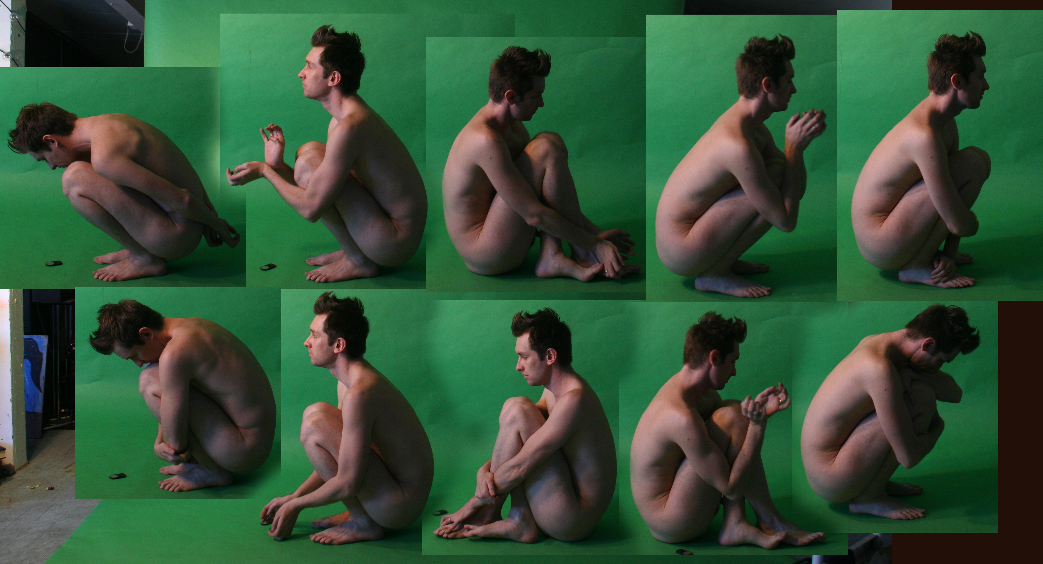Crouching Nude Males by TheMaleNudeStock