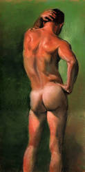 Life painting of nude male by TheMaleNudeStock