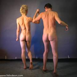 Two men walking nude, back by TheMaleNudeStock