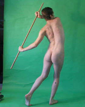 nude man rowing, for six of swords tarot 3