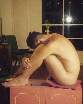 crouching, seated male nude, art class pose