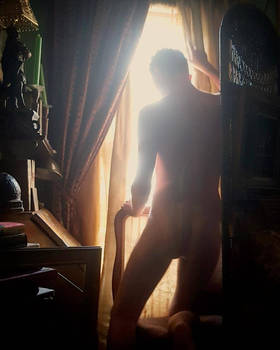 male nude at the golden window 2