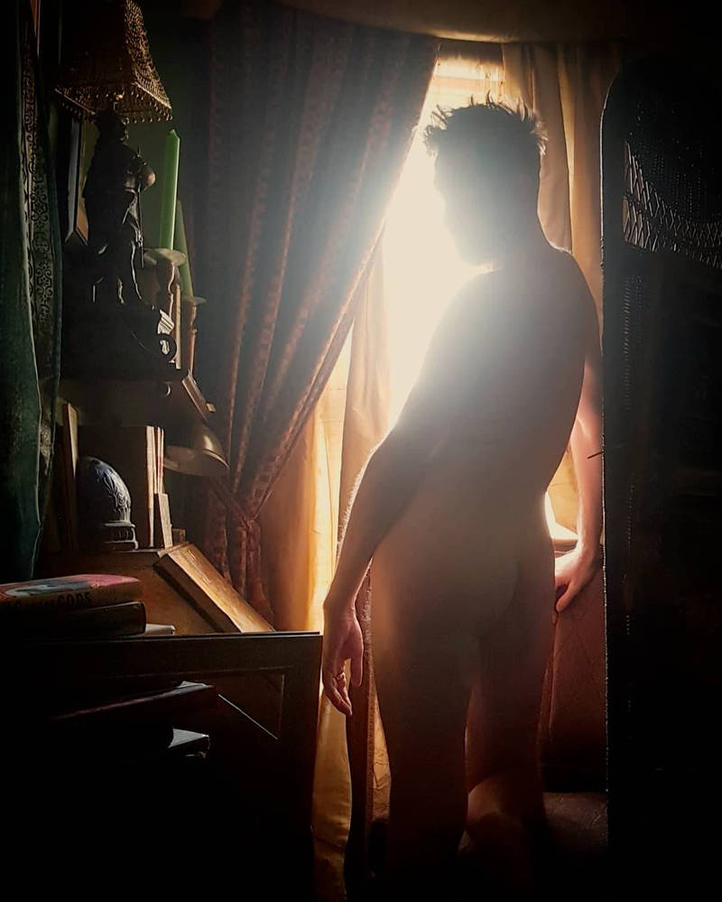 male nude at the golden window 5 by TheMaleNudeStock