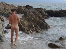 male nude beach, back