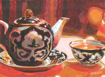 Still Life with Green Tea Pot by archiei