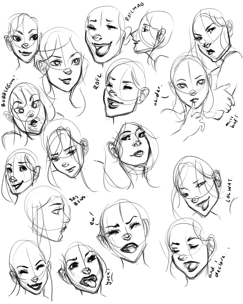 Line Drawing Happy Face : Facial expressions practice by raeri chan on deviantart